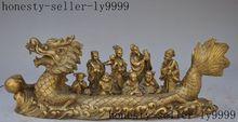 Noël marqué chinois Folk laiton mythe FengShui 8 immortel dieu assis Dragon bateau Statue halloween