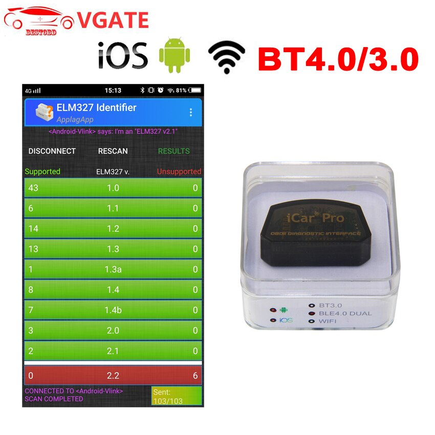 Vgate ELM327 V2.1 WIFI / Bluetooth 4.0 for IOS Android iCar Pro OBD OBD2 OBDII Car Diagnostic Code Reader Tool Mini ELM327 v2.1