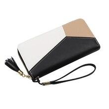 여자 패션 pu 가죽 지갑 카드 홀더 고품질 내구성 컬러 블록 지퍼 지갑