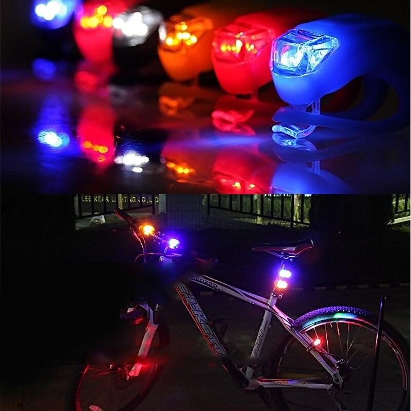 50 unids/lote, luz de silicona impermeable, 4 colores, luz LED para bicicleta, cabeza delantera, rueda trasera, luz para bicicleta, luz de advertencia para ciclismo