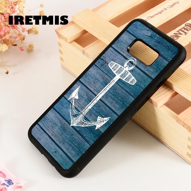 Iretmis S3 S4 S5 funda de silicona para teléfono Samsung Galaxy S6 S7 S8 S9 edge plus Note 3 4 5 8 9 estilo de madera de ancla Vintage