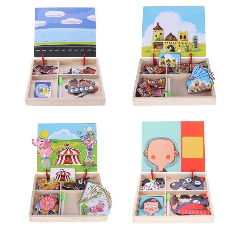 Rompecabezas magnético de madera para bebé, juguete para niños, juegos de vestir, rompecabezas educativos para niños, Regalos divertidos de cumpleaños