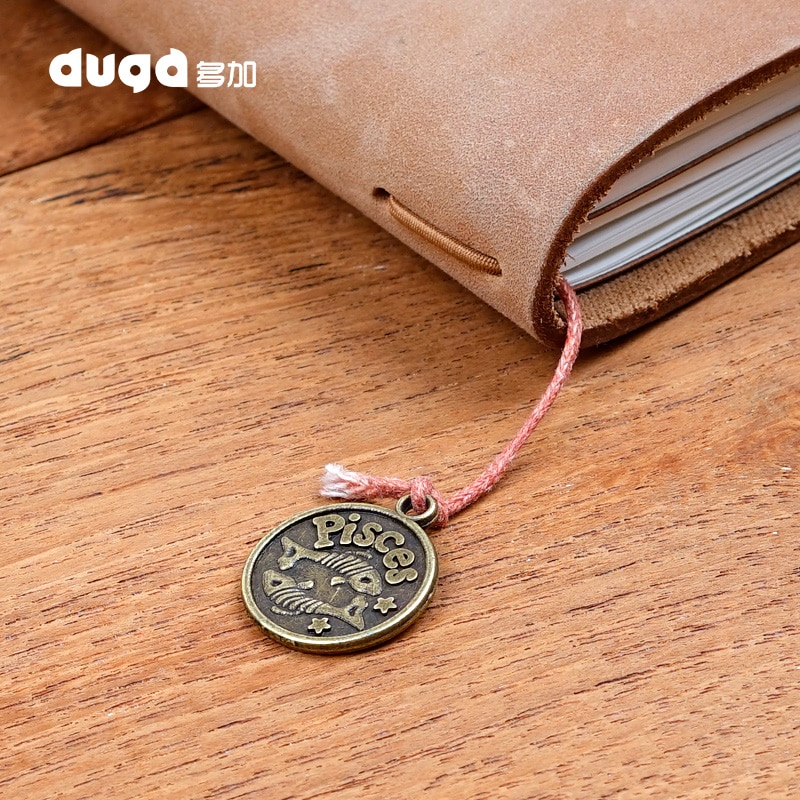 Vintage Travelers Notebook Accessories 12 Constellation Pendant For Midori Planner Decorative Stationery Double Side Retro Brass