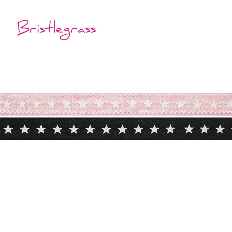 "BRISTLEGRASS Wholesale 50 Yard 5/8"" 15mm White Star Print Fold Over Elastic FOE Spandex Satin Band Kid Headband Dress DIY Sewing"