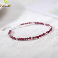 Flyleaf Black Spinel Cut Crystal  Beads Real 925 Sterling Silver Bracelets For Women Fashion Fine Jewelry Bracelets & Bangles