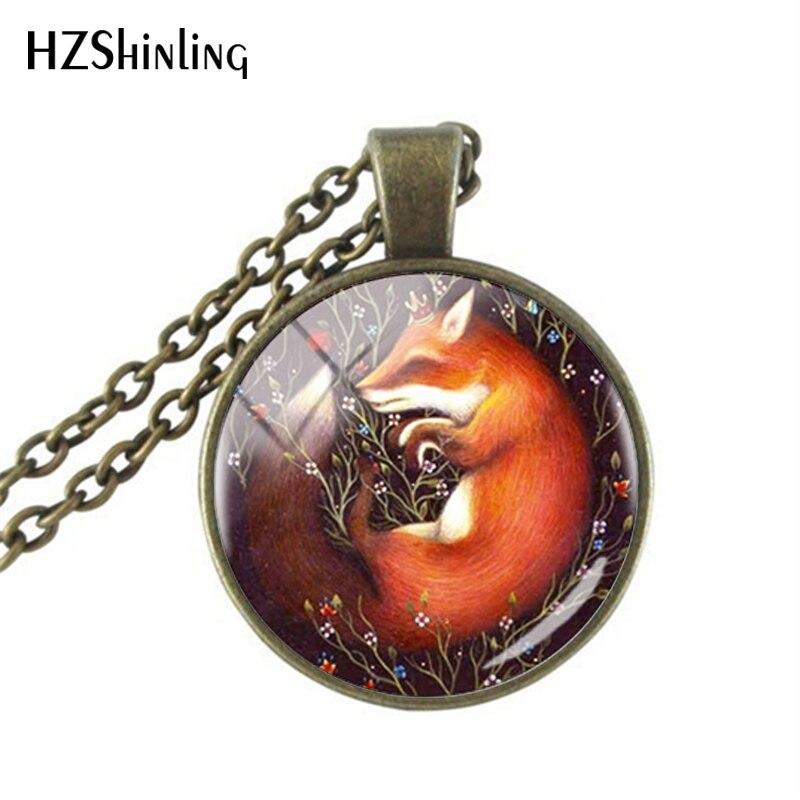 Zorro rojo en la trampa collar Vintage de cristal colgante de imagen hecho a mano hombres mujeres collares joyería regalo