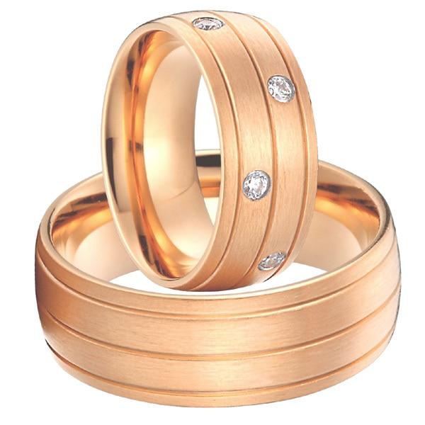 خواتم الوعد بالزفاف للرجال والنساء ، مجوهرات من التيتانيوم والصلب باللون الذهبي الوردي