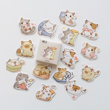 45 pcs /Pack Kawaii Cats Mini Stickers Marker of Page DIY Decorative Sealing Paste Stick Label School Office Supply