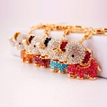 Car  Charm Glitter Crystal Carousel Car Keychain Trojans Keyring Women Handbag Bag Key Chain Ring Ho