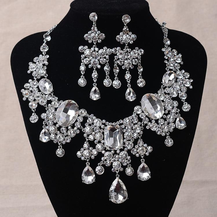 Комплект ювелирных изделий из африканских бусин, большие стразы, ожерелье и серьги с каплями воды, Комплект классических индийских кристаллов, комплект свадебных ювелирных изделий