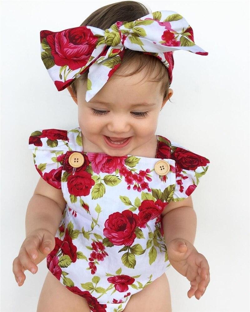 Одежда для новорожденных девочек с цветочным принтом, комбинезон с рукавами с оборками + повязка на голову, комплект из 2 предметов, пляжный костюм для детей 0-24 месяцев, 2019