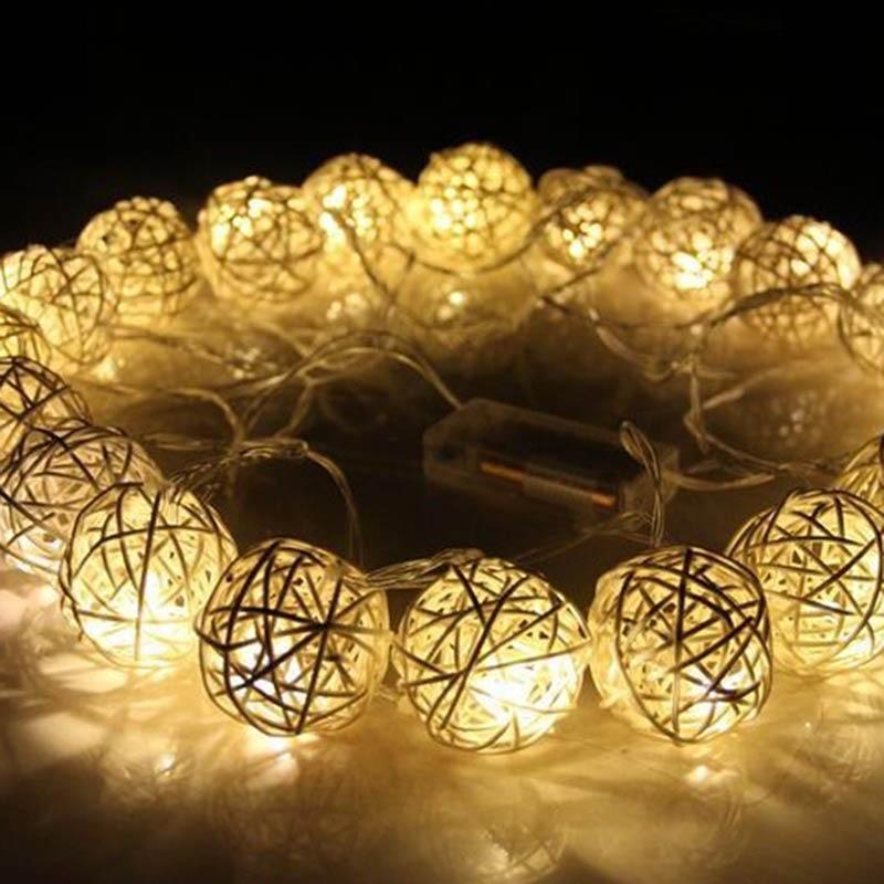 20 led 250cm morno branco rattan bola led string luzes de fadas para o natal feriado festa de casamento decoração festa bateria seca