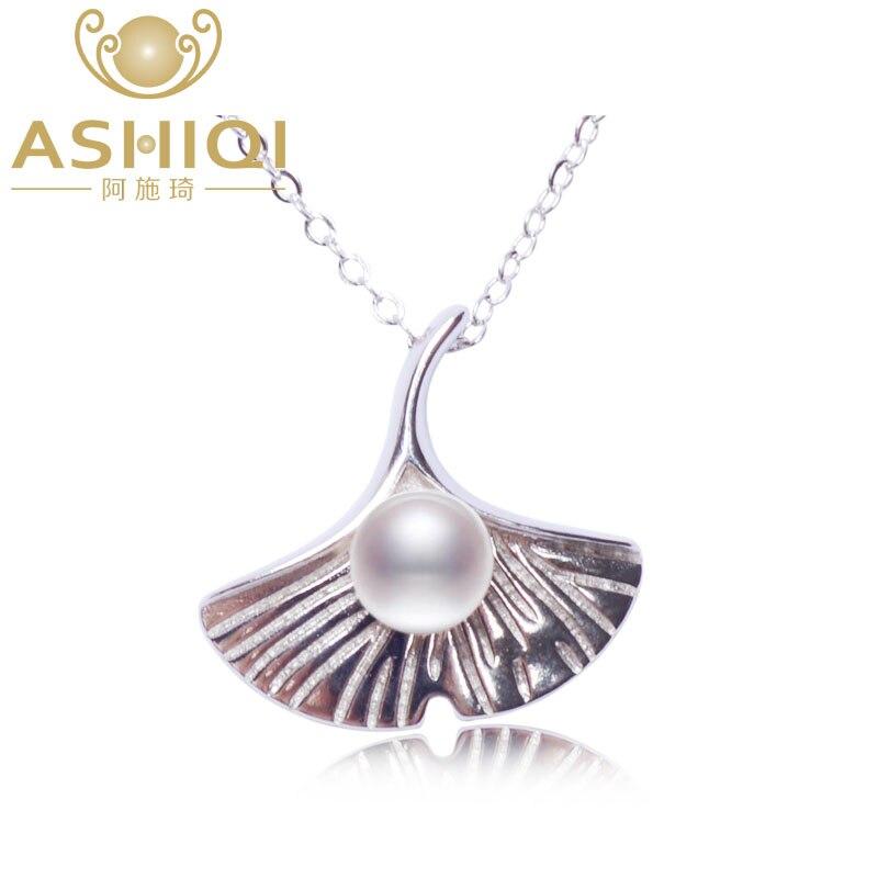 Collar de perlas naturales de agua dulce ASHIQI 925, colgante de hoja de Ginkgo de plata sólida, joyería fina para mujeres, regalo de Navidad