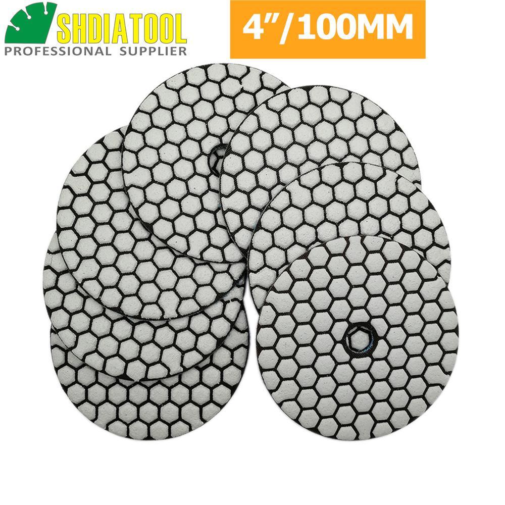 SHDIATOOL 7pcs/set Diamond Dry Polishing Pads Dia 4'' 100mm Sanding Disc Polishing Marble Granite Polisher disc Polishing Disc недорого
