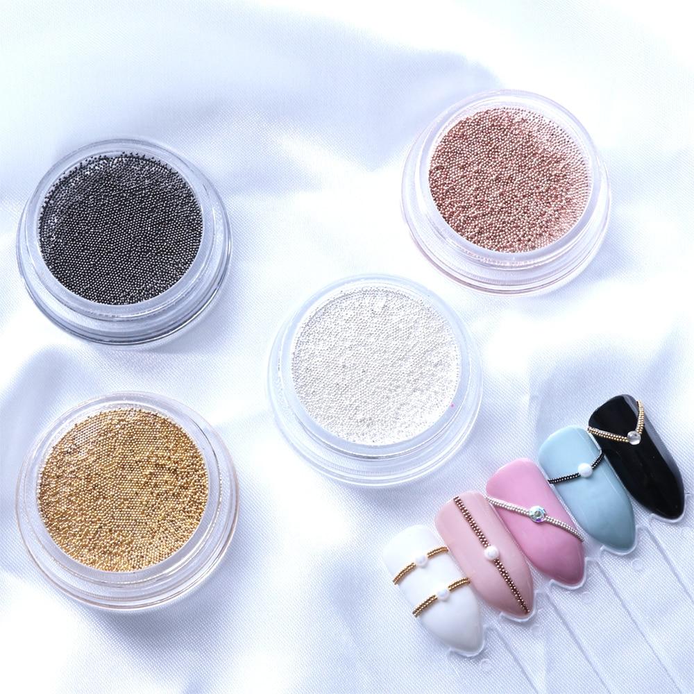 Mini cuentas de uñas de acero con purpurina en polvo, copos dorados de 0,4/1,0mm, Caviar plateado, abalorios de uñas en 3D, herramientas de decoración para manicura BE829