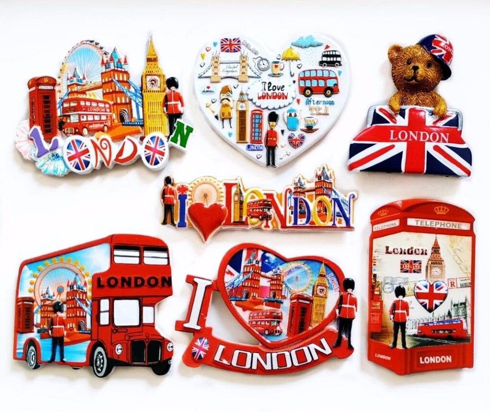 Aimants de réfrigérateur en résine 3D   Autocollants britanniques de cabine de téléphone, de Bus de londres, Souvenirs de tourisme, autocollants magnétiques de réfrigérateur, décoration de maison