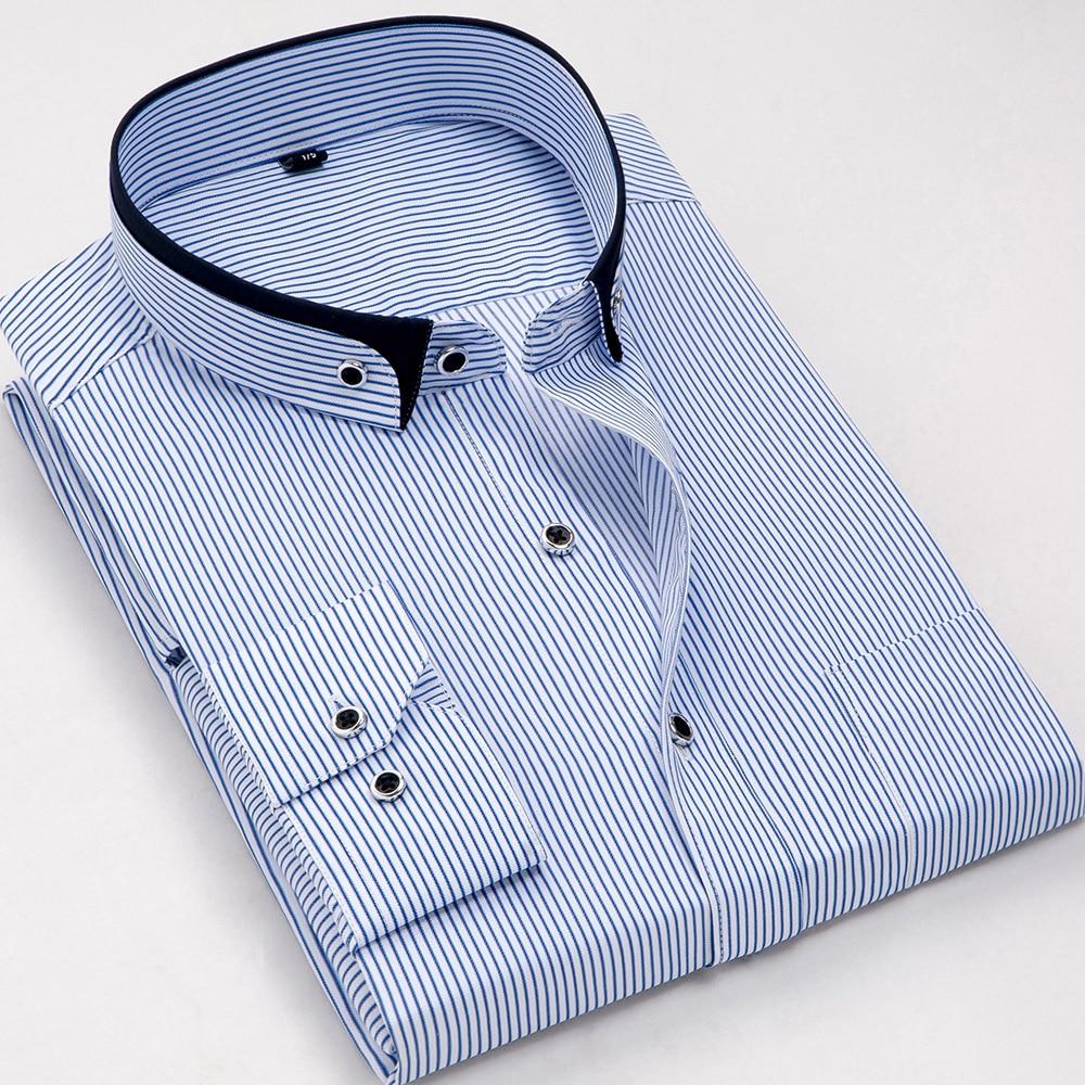 Moda de manga longa fino ajuste listrado não-ferro homens de negócios formal vestido camisas pequeno duplo botão colarinho