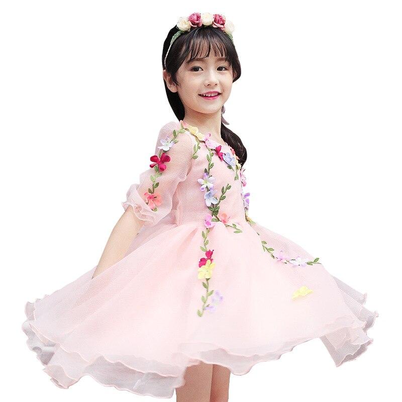 3 - 14 yrs baby girls summer princess tulle 3d flower fairy dress Kids fancy party dress beauty Cosplay costume girls ball gown