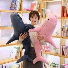 Oreiller morsure rose avec requin, grande taille 100cm