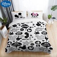 3Pcs Disney Black White Bedding Set MinnieMickey mouse Pillowcase Duvet Cover Couple wedding Quilt Set Adult Double Bedding