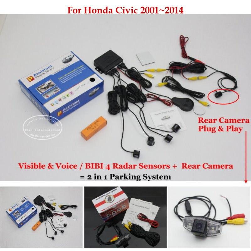 Para Honda Civic 2001 ~ 2014 Sensor de retrovisor marcha atrás cámara de alta calidad sensores de coche sistema de aparcamiento de alarma automática