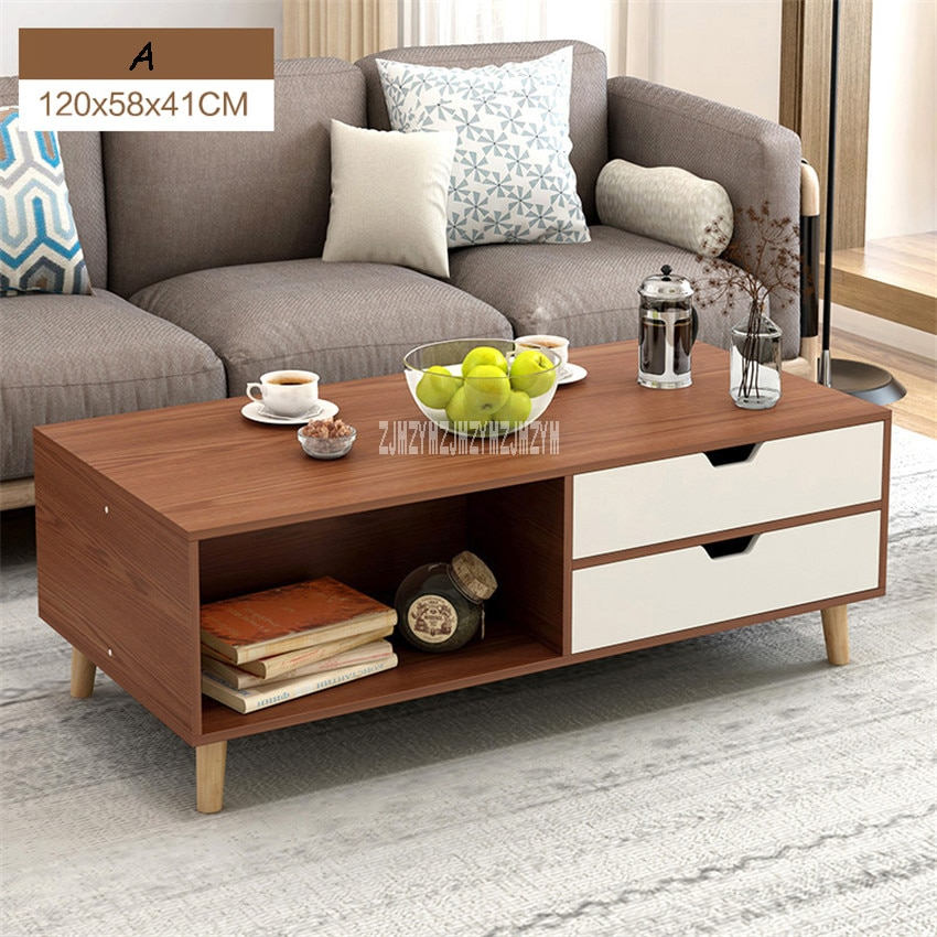 Mesa de té H30 de gran capacidad, mesa auxiliar multifuncional, mesa auxiliar Rectangular con 2 cajones