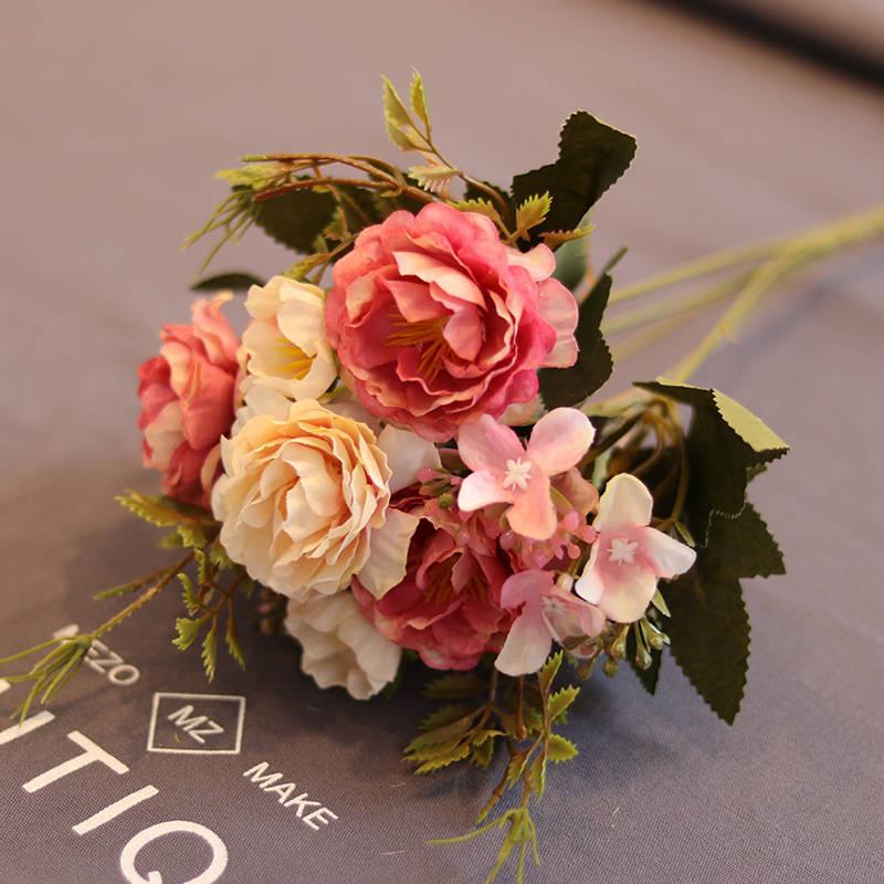 1 ramo de flores, flor peonía de seda europeo Artificial, foto de flores, accesorios de fotografía, hoja falsa, decoración de fiesta en casa para boda DA
