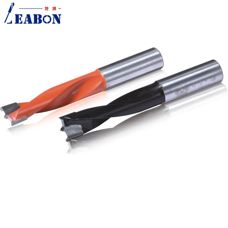 Two Flutes Woodworking Gang Drill Bits Blind Hole TCT Drilling Head Length 70mm 57mm for Multi Rows Boring Machine 10mm Shank