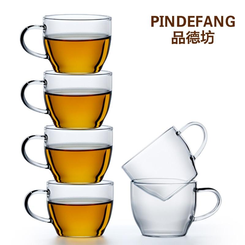 PINDEFANG 6 قطعة 150 مللي/5.3OZ Heatable الزجاج الشاي كأس اليومية Drinkware فنجان القهوة مكتب أنيقة Teaware هدية Teaset الحليب القدح
