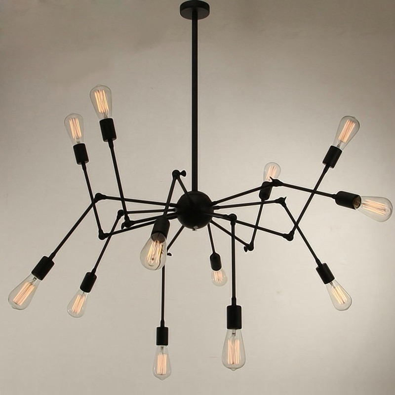 Lámpara colgante de araña negra/blanca/roja Art Deco moderna de 12 cabezas de hierro minimalista loft led dormitorio bar cafetería