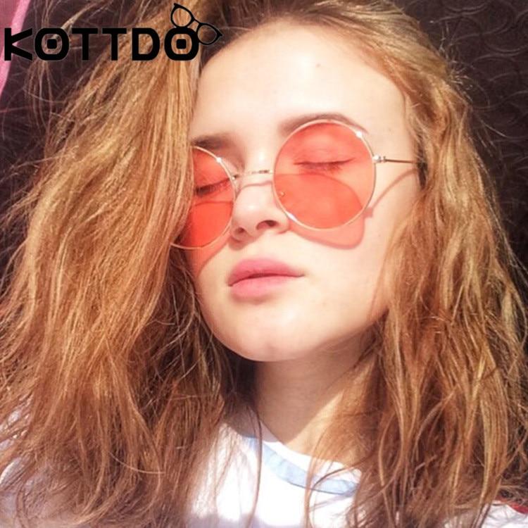 KOTTDO, producto en oferta, gafas de sol redondas de Metal para mujer, marca de diseñador, gafas de sol clásicas Retro para hombre y mujer, gafas de sol UV400