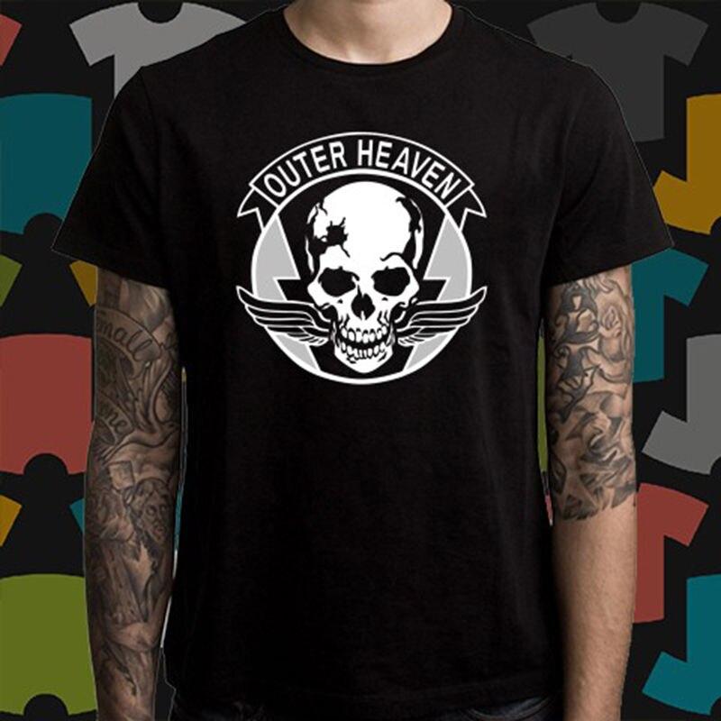 Nuevo cielo exterior Metal Gear Solid camiseta negra para hombre talla S a 3XL camiseta para hombre estampado algodón manga corta Camiseta