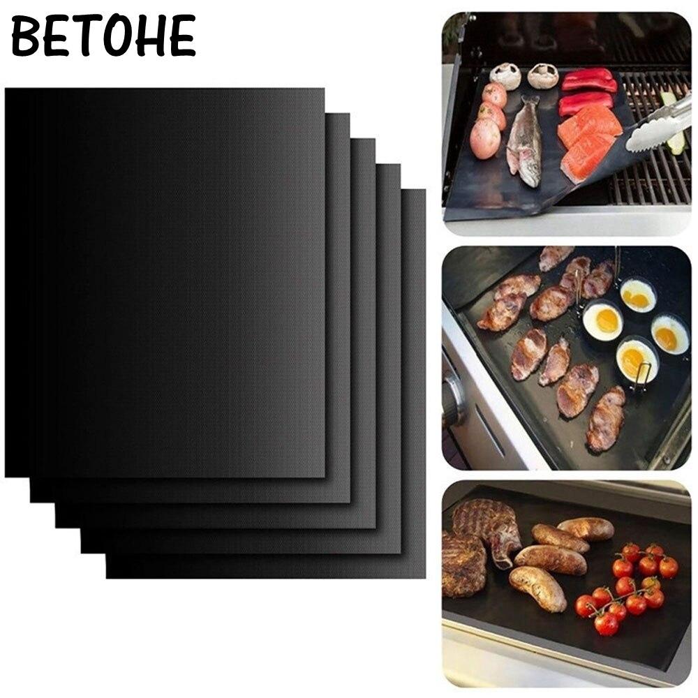 BETOHE 2pcs/lot 0.2mm Thick ptfe Barbecue Grill Mat 33*40cm non-stick Reusable BBQ Grill Mats Sheet Grill Foil BBQ Liner