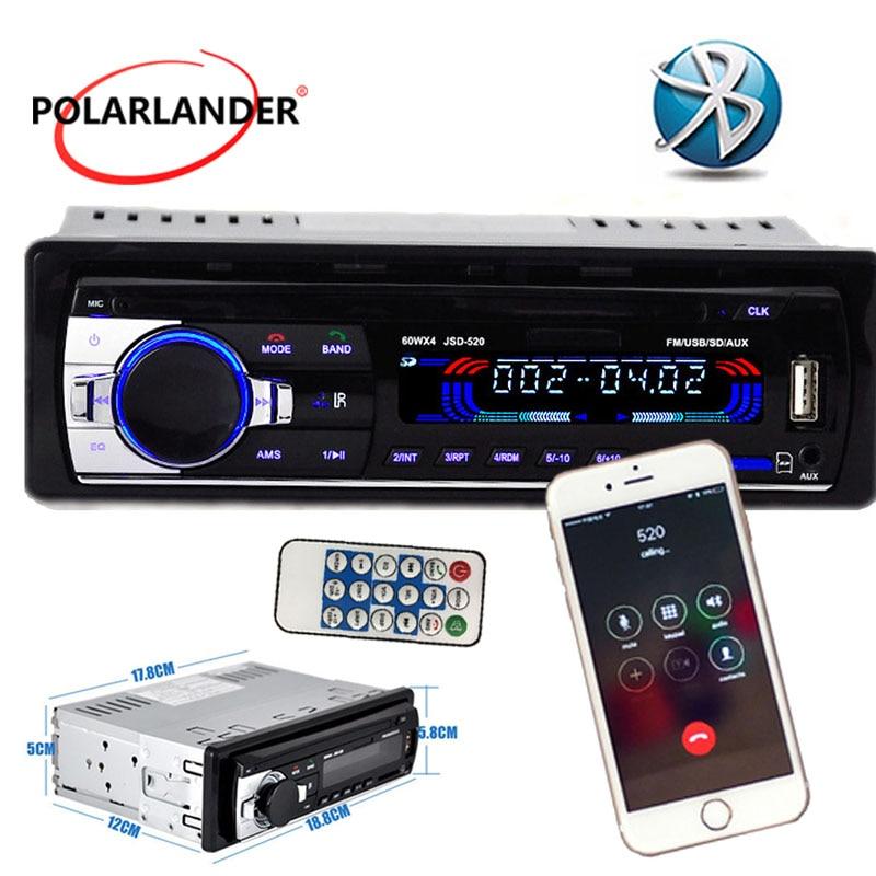 jsd-520 12V Stereo Bluetooth FM Radio MP3 Audio Player USB/SD Port Car Radio In-Dash 1 DIN Auto Electronics Subwoofer