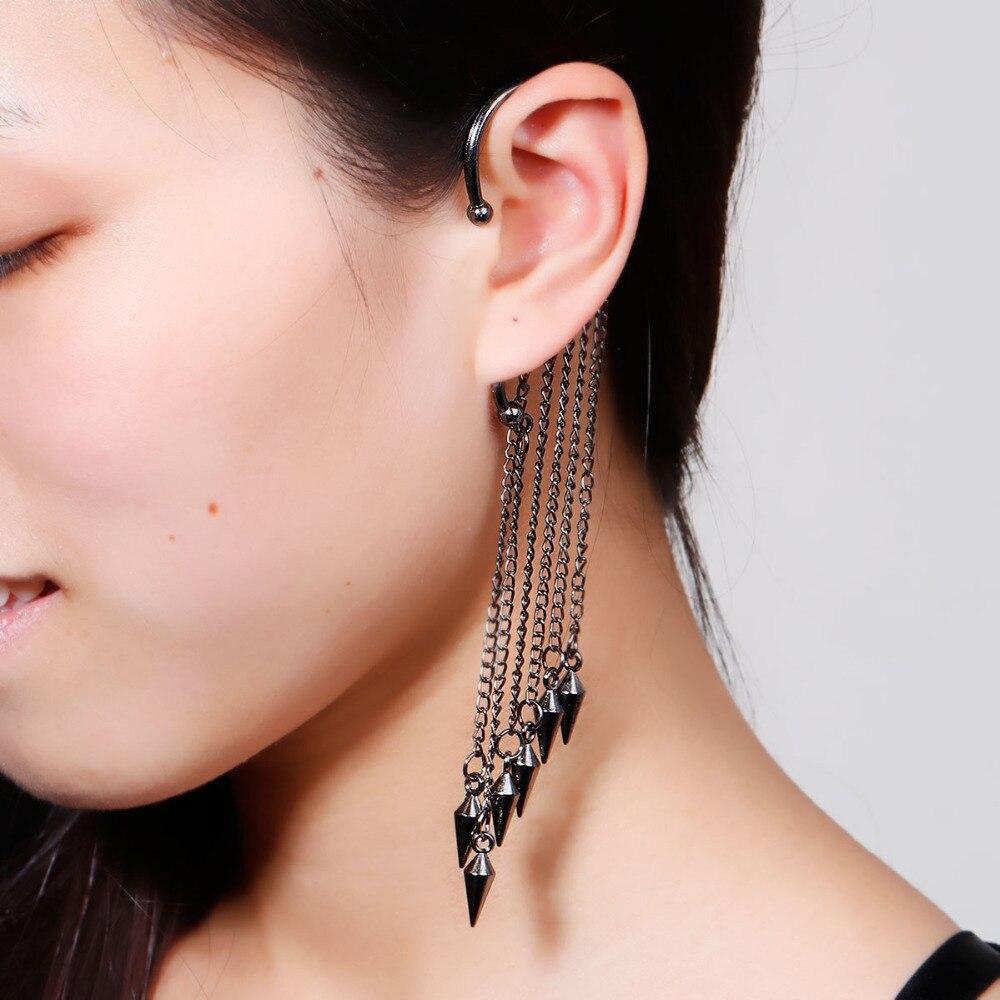 """DoreenBeads nuevos pendientes de moda para la oreja de la oreja izquierda remache Gunmetal 15,7 cm (6 1/8 """") x 3,2 cm (2/8 1""""), 1 pieza"""