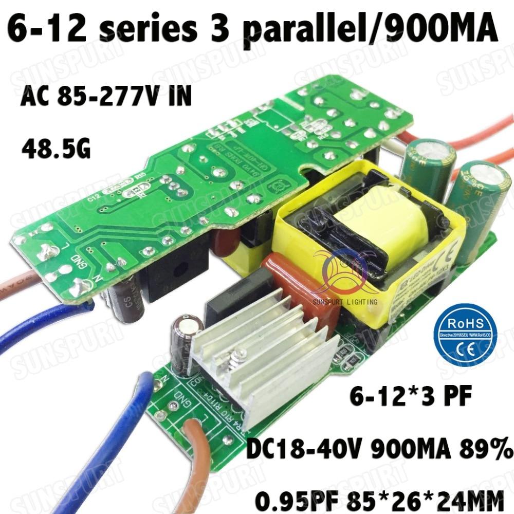 3 piezas de aislamiento 36W AC85-277V Controlador LED 6-12x3 900mA DC18-40V fuente de alimentación LED Bombilla LED para lámpara de corriente constante envío gratis