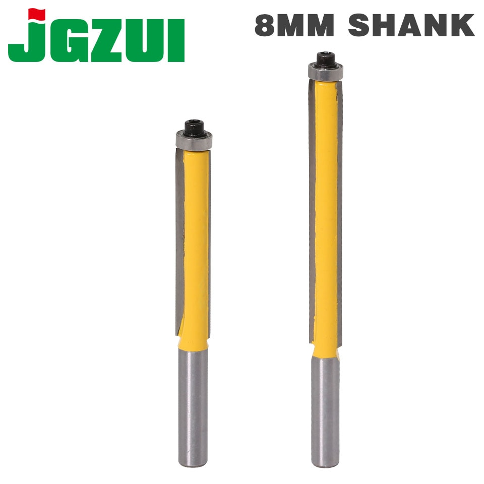 1Pc 8mm SHANK long blade flush bit Flush Trim Router Bit End Bearing For Woodworking Cutting Tool