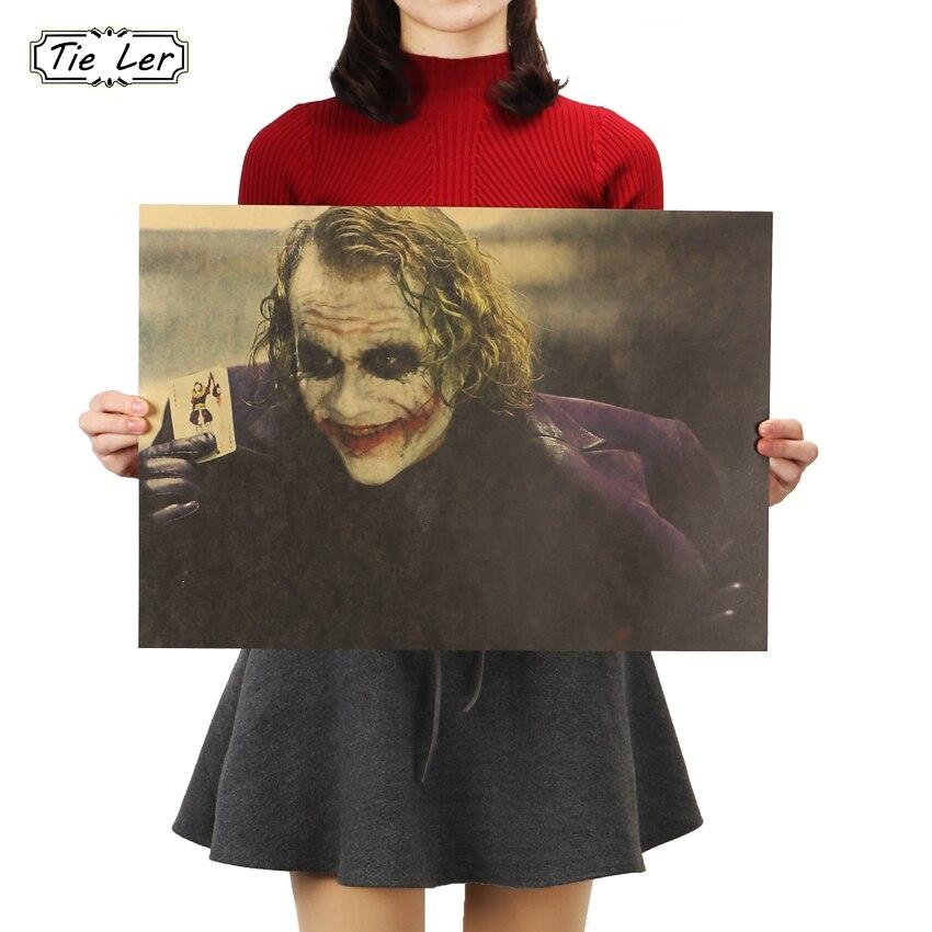 Corbata LER El caballero oscuro película clásica cartel de papel Kraft Bar cafetería decoración pintura 51.5X36cm