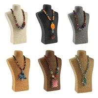 hot selling 3017 5cm hemp rope pvc portrait necklace holder jewellery mannequin bust neck jewelry display pendant chocker shelf