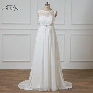 ADLN Elegant Plus Size Wedding Dresses with Beads White/Ivory Lace-up Back Vestidos de Novia Chiffon Empire Bridal Gown