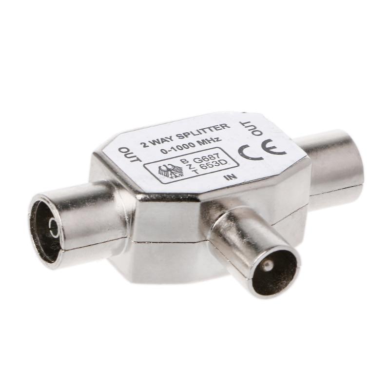 2 Way T Splitter1x Macho para 2 x Fêmea Adaptador COAX Coaxial TV Antena de Metal de Transferência de transmissão de sinal de vídeo 0-1000 MHz