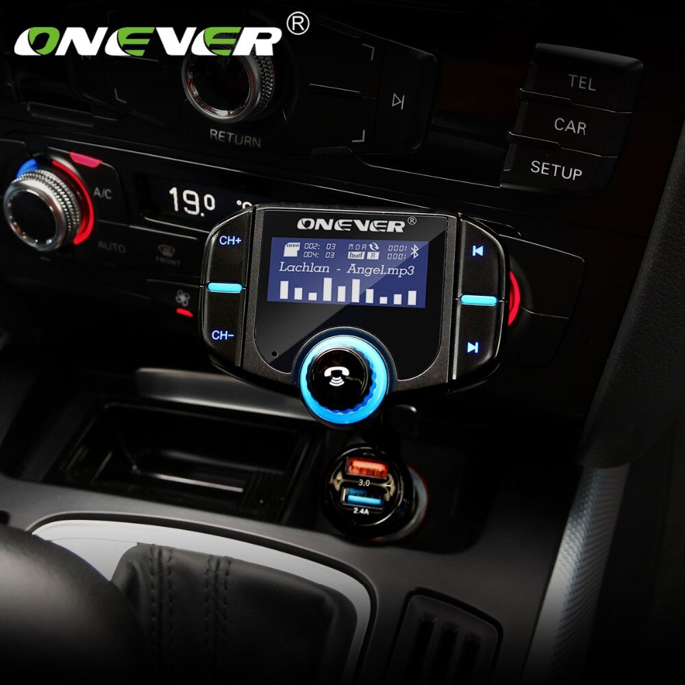 Onever FM الارسال بلوتوث سيارة عدة الأيدي الحرة 2 ميناء شاحن يو اس بي السريع 1.65 ''يدعم Siri شاشة الكريستال السائل مشغل MP3