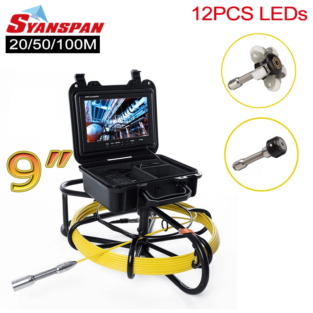 Review All-in-One 23mm SYANSPAN 9″Monitor Pipe Inspection Video Camera,Drain Sewer Pipeline Industrial Endoscope with Meter Counter