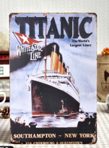 5pcs/lot Metal Sign shabby chic Classic Film TITANIC Tin Metal Sign Poster Wall Art Decor White Star Line Movie Poster