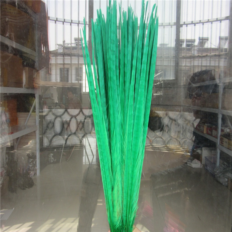 Plumas de la cola de faisán verde hierba 100 Uds. Al por mayor 20-22 pulgadas 50-55CM joyería decoraciones de boda, Halloween plumas de faisán