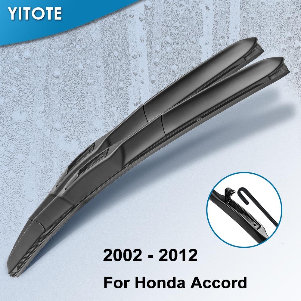 Limpiaparabrisas híbridos YITOTE para Honda Accord Europa/Japón modelo fit hook Año del 2002 al 2012