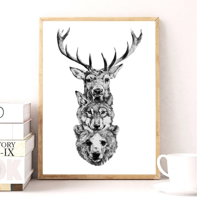 Ciervo, oso, dibujo a lápiz salvaje Lona de arte póster de tela 40x60cm