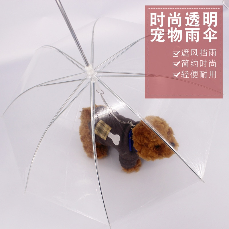 Paraguas para perros pequeños con cadena de arrastre, paraguas transparente de PE para perros pequeños