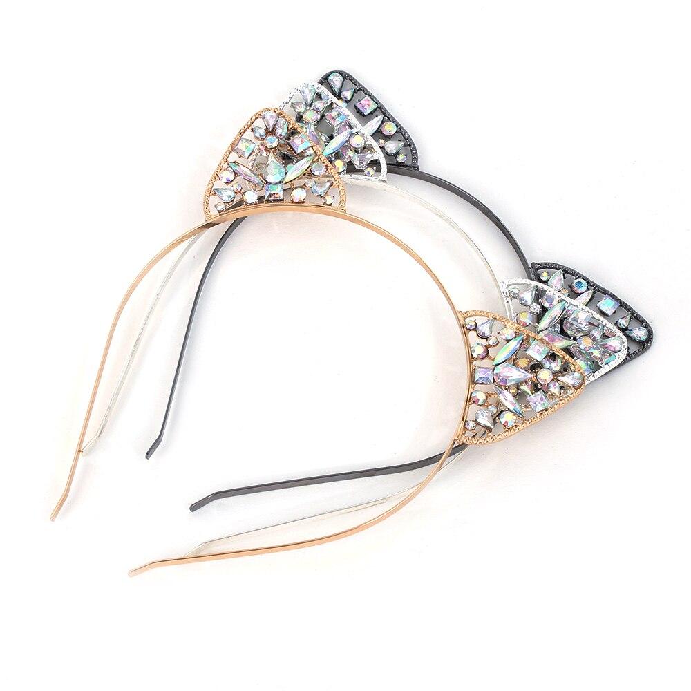 Bandeau doreilles en cristal strass chat Animal   Accessoires pour cheveux, 1 pièce, tendance, pour femmes, Costume fête Cosplay, pour filles