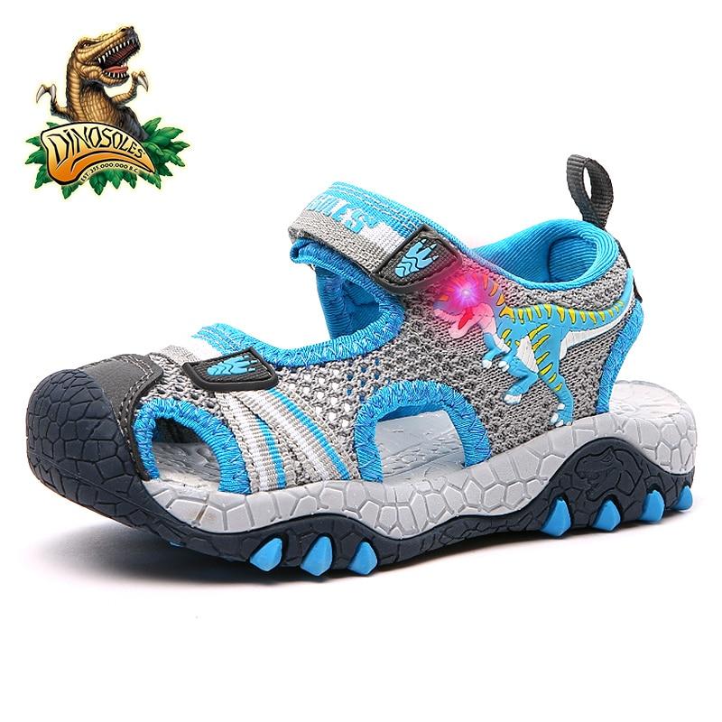 Dinoskulls-أحذية صيفية للأطفال ، أحذية بإضاءة Led ، صنادل للأولاد ، شبكة ، أحذية شاطئ للأطفال الصغار ، جلد ، قطن وديناصور ثلاثي الأبعاد ، 2019